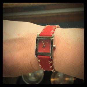Skagen red leather watch